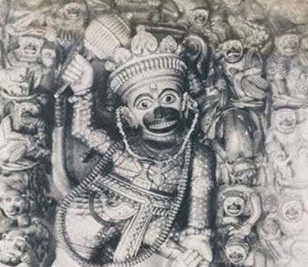 Hanuman in Female Avtar at Girjabandh hanuman mandir Ratanpur