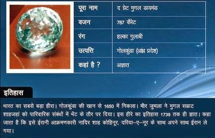 Great Mughal diamond Story & History in Hindi