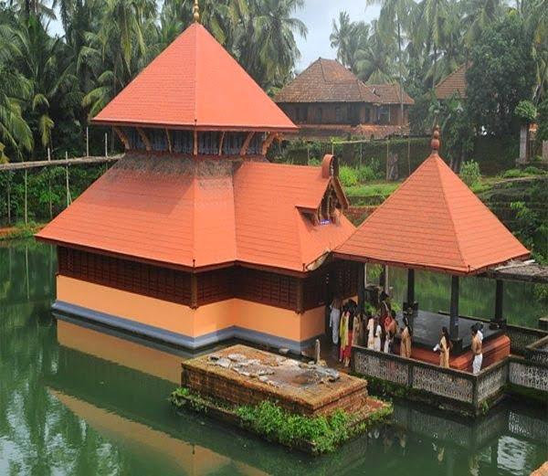 A temple where a vegetarian crocodile resides