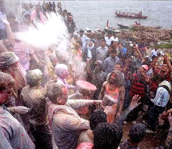 Holi With Burning Funeral Ashes At Manikarnika Ghat Crematorium