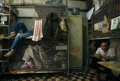 Hong Kong poor people living in metal cages