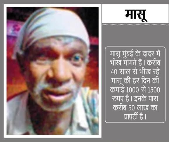 Massu/Malana: Takes an auto-rickshaw to reach his begging spot