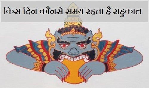 Rahu Kaal Time, Sunday, Monday, Tuesday, Wednesday, Thursday, Friday, Saturday,
