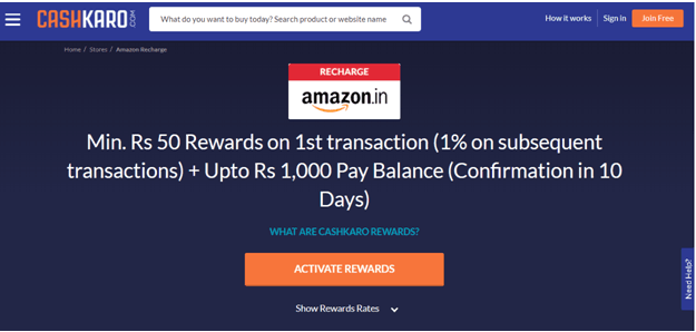 Earn Cashback On Amazon Recharge