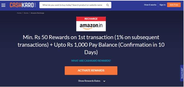 Earn Cashback On Amazon Recharge