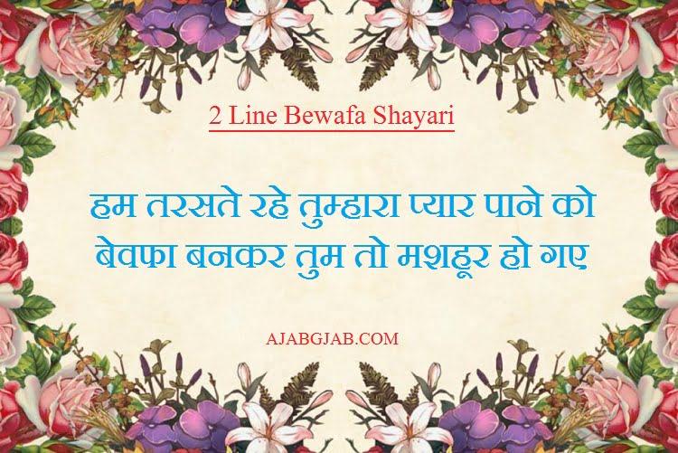 Best 2 Line Bewafa Shayari